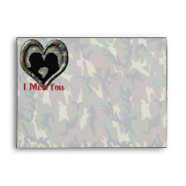 Camouflage Heart with Kissing Couple Miss You Envelope