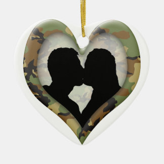 Camouflage Heart with Kissing Couple Ornaments