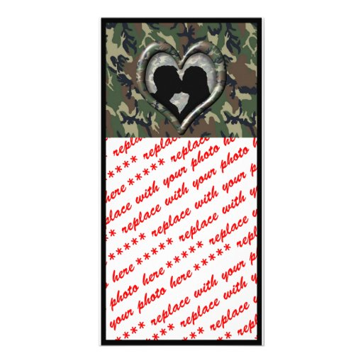 Camouflage Heart with Kissing Couple Customized Photo Card