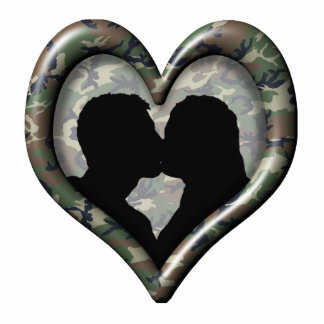 Camouflage Heart with Kissing Couple Standing Photo Sculpture