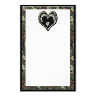 Camouflage Heart with Kissing Couple Stationery