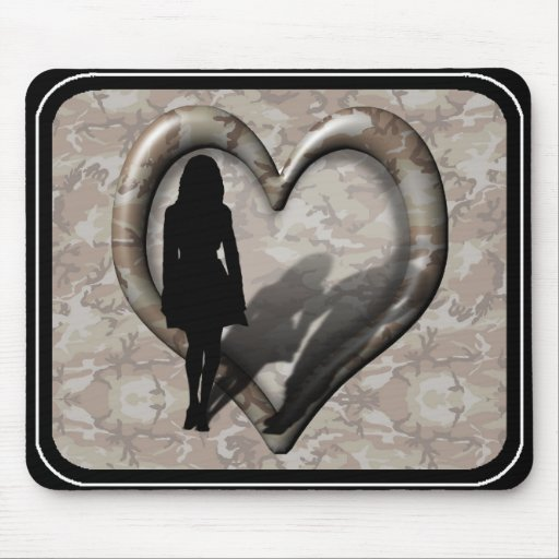 Camouflage Heart - Woman Missing Man Mouse Pad