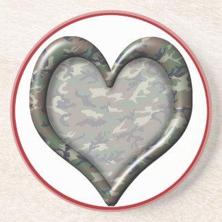 Camouflage Heart - Woodland Drink Coaster