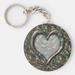 Camouflage Heart - Woodland Keychain