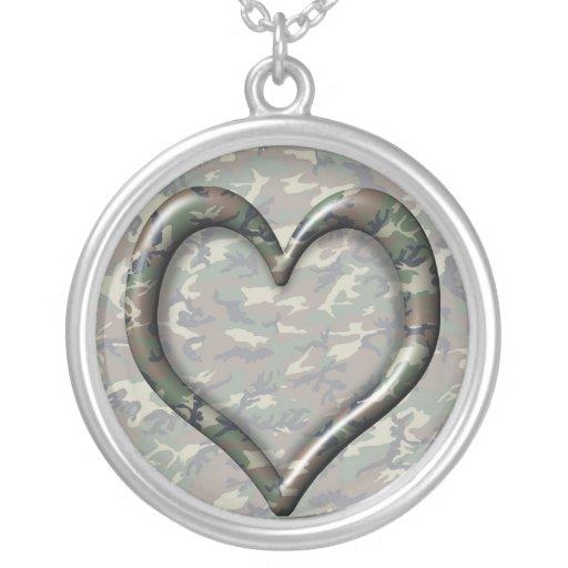 Camouflage Heart - Woodland Round Pendant Necklace