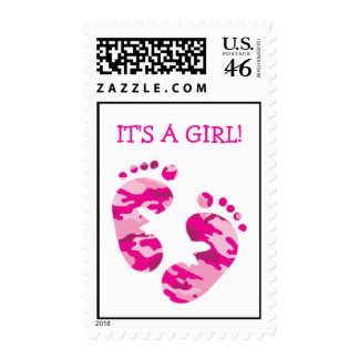 Camouflage Hot Pink Baby Feet IT S A GIRL STAMP