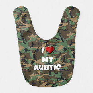 "Camouflage ""I love my Auntie"" Baby Bib"