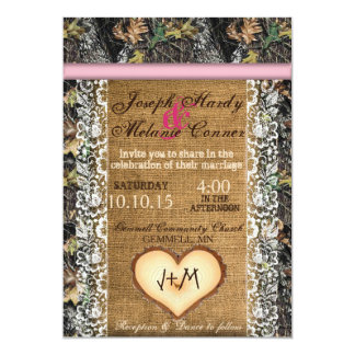 Camouflage Invitation with Burlap & Lace