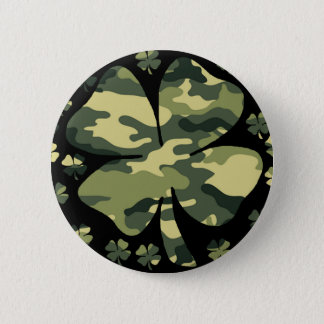 camouflage irish four leaf clover button