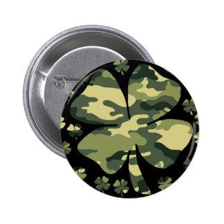camouflage irish four leaf clover button