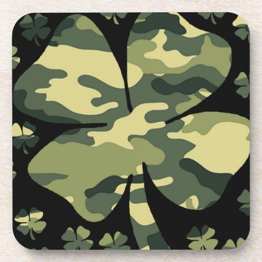 camouflage irish four leaf clover coasters