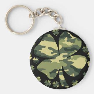 camouflage irish four leaf clover keychain