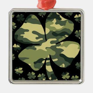 camouflage irish four leaf clover metal ornament