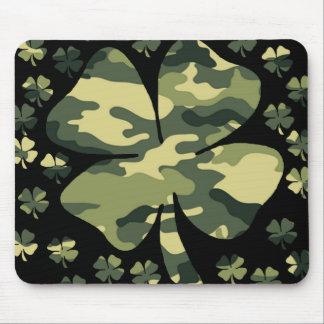 camouflage irish four leaf clover mousepad