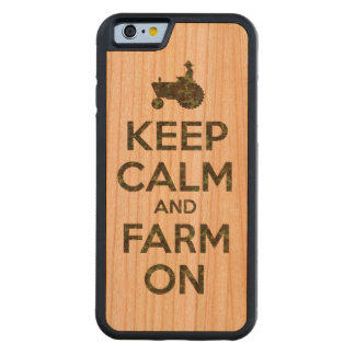 Camouflage Keep Calm and Farm On Carved Cherry iPhone 6 Bumper Case