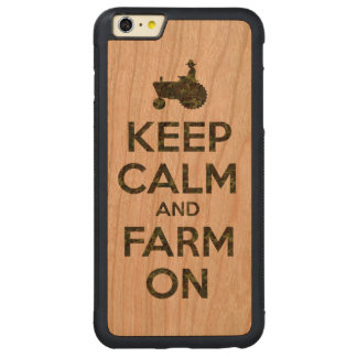 Camouflage Keep Calm and Farm On Carved® Cherry iPhone 6 Plus Bumper