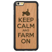 Camouflage Keep Calm and Farm On Carved Cherry iPhone 6 Plus Bumper Case
