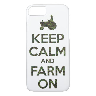 Camouflage Keep Calm and Farm On iPhone 8/7 Case