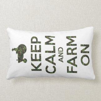 Camouflage Keep Calm and Farm On Lumbar Pillow