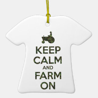 Camouflage Keep Calm and Farm On Double-Sided T-Shirt Ceramic Christmas Ornament