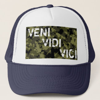 Camouflage military message Veni Vidi Vici Trucker Hat