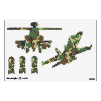 Camouflage Military Plane Helicopter and Bombs Wall Sticker