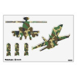 Camouflage Military Plane Helicopter and Bombs Wall Graphic