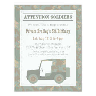 Camouflage Military Print Army Birthday Party Card