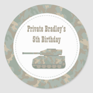 Camouflage Military Print Tank Army Birthday Party Classic Round Sticker