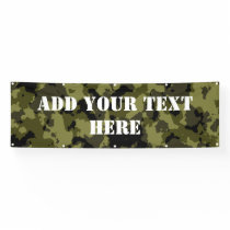 Camouflage military style pattern banner