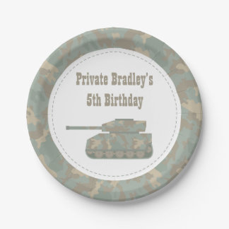 Camouflage Military Tank Army Birthday Party Paper Plate