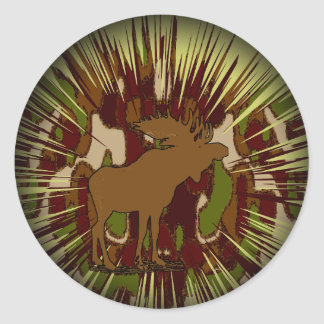 Camouflage Moose Break-out Camo Classic Round Sticker