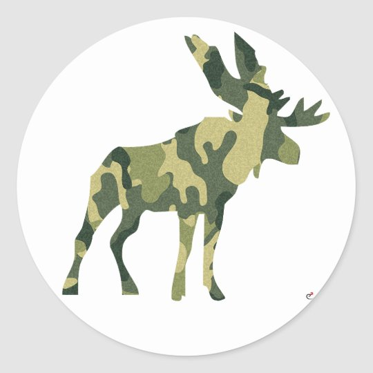 Camouflage Moose Silhouette Classic Round Sticker