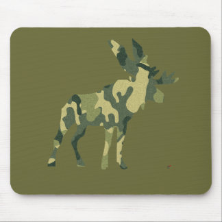 Camouflage Moose Silhouette Mouse Pad