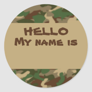 Camouflage Nametag Stickers Hello My Name Is