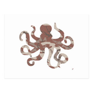 Camouflage Octopus Silhouette Post Cards