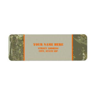 Camouflage Orange Address Label Sticker