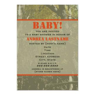 Camouflage & Orange Baby Shower Invitation