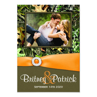 Camouflage Orange Hunting Camo Wedding Invitations