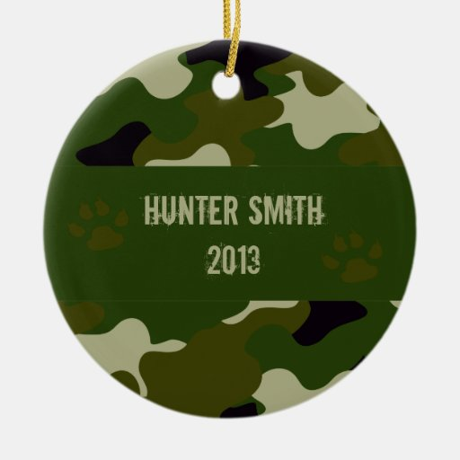 Camouflage Double-Sided Ceramic Round Christmas Ornament