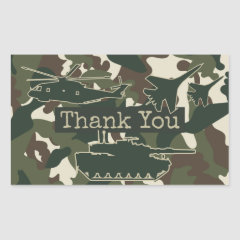 Camouflage Party Favor Thank You Stickers