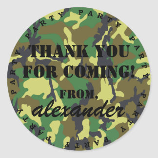 Camouflage Party Thank You Round Sticker