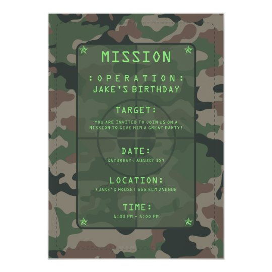 Camouflage Party Theme Card