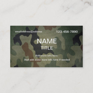 camouflage pattern business card - Military Business Cards
