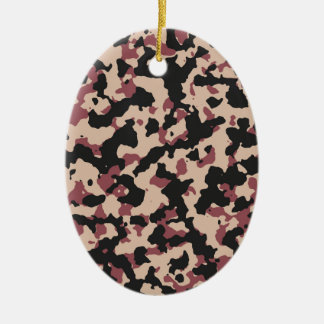 Camouflage Pattern PANTONE  Marsala Toasted Almond Ceramic Ornament