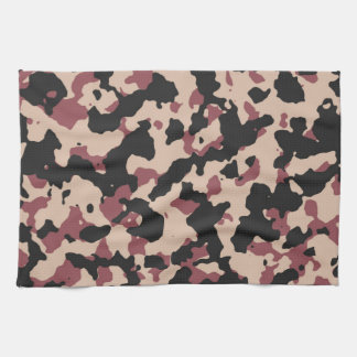 Camouflage Pattern PANTONE  Marsala Toasted Almond Kitchen Towels