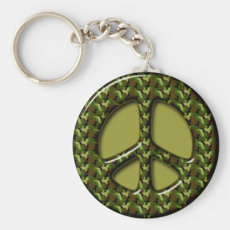 CAMOUFLAGE PEACE SIGN BASIC ROUND BUTTON KEYCHAIN