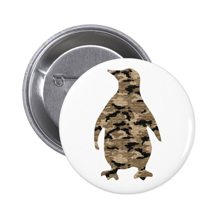 Camouflage Penguin Silhouette Button