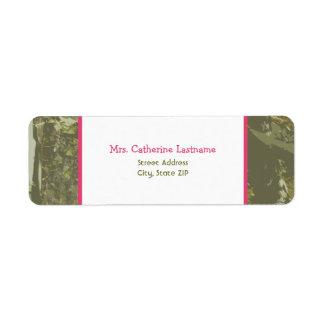 Camouflage Pink Address Label Sticker