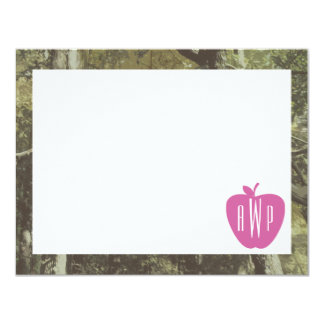 Camouflage + Pink Apple Monogrammed Teacher Card